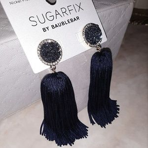 Royal Blue Tassel Druzy Dangle Earrings
